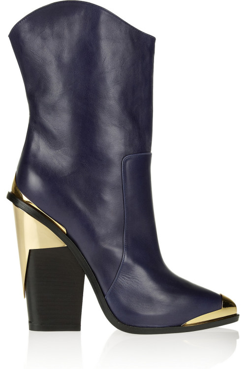Versace. Shiny corners to contrast the supple navy leather. Lovely.