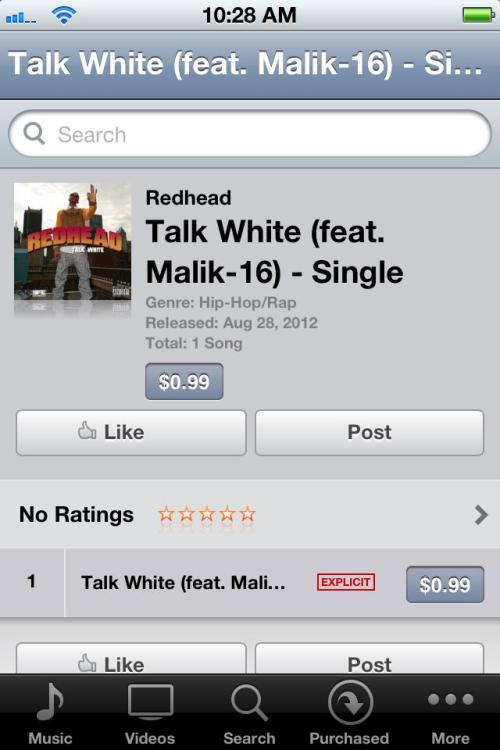 """Talk White"" (my debut single on SFE/Fontana/Universal) goes on sale on September 4th, 2012. You can preorder it now, though. Holla!"