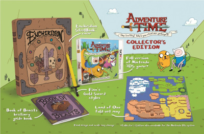 albotas:  The Adventure Time Game Collector's Edition Comes With A Buttload Of Rad Stuff Adventure Time: Hey Ice King! Why'd You Steal Our Garbage?! looks awesome enough on its own merit (think Legend of Zelda II, but in the Land of Ooo and less sucky more polished). But when you throw this absurdly fresh collector's edition into the mix, well, any 3DS or DS owner would have to be a complete jerk not to get down with sickness. For just $10 more than the regular game, this set includes map, beastiary, a stylus shaped like Finn's sword, and it all comes bundled in a steel case that looks like the Enchirdion - a sacred hero's handbook that Finn and Jake go an epic D&D-like quest to obtain in an episode from the show's first season. Pretty dang radical. (via Kotaku) Pre-order: Adventure Time for DS and 3DS Also check out: Our interview with Adventure Time's creator