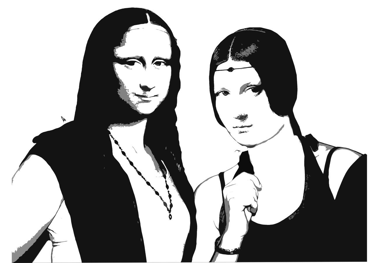 The girls of DaVinci.  Made on canvas| 70x50 cm | Stencil | Black-White