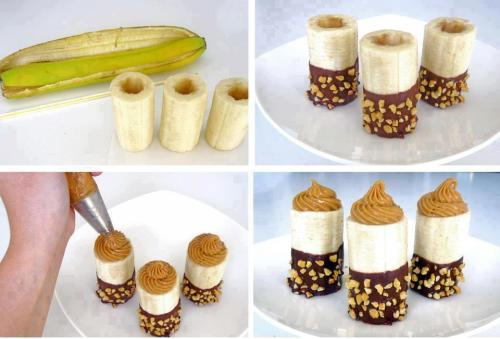 Chocolate-Dipped Bananas With Almond Butter Hollow out your banana, dip the end in melted cacao (or vegan chocolate chips), roll in nuts (could also use coconut flakes) and fill with almond butter! This ingenious treat comes from our friends at Just Eat Real Food.