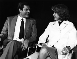"Rita Hayworth, chats with Marcello Mastroianni between the scenes of ""A Poppy Is Also A Flower"", on location in Rome, Italy, February 17, 1966"