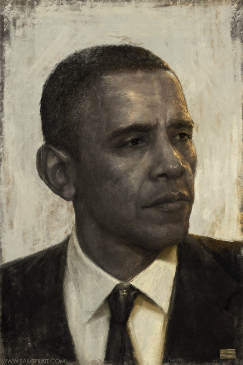 "samspratt:  4 MORE YEARS!  ""Golden Age"" - Portrait of Barack Obama by Sam Spratt"
