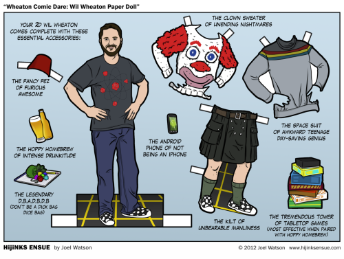 "Wil Wheaton Paper Dolls! Wil didn't so much ""dare"" me to make this paper doll as he did call me up and, with his best ""WE SHOULD TOTALLY DO THIS BECAUSE IT WOULD BE TOTALLY AWESOME!"" enthusiasm-voice, ask me very politely to draw it. The last time Wil dared me to draw him as a child's plaything it took us over a year to bring it into meatspace. The good news is this time around the plaything in question doesn't require an army of Chinese children with nimble fingers to make it a reality. All we really need is a PDF and a laser printer. To that end, Wil is going to have actual Wil Wheaton Paper Doll sheets that you'll be able to purchase at PAX this weekend!For those of you unable to attend PAX, you can use the ""Buy A Print"" button below this comic to get your own Paper Wil. I was under the impression that these would be ""hang on the wall"" types of things, but Wil is insistent that you guys actually cut them out, fold the tabs, dance them around and make them have holodeck tea parties. He is usually right about this sort of thing, so I'm going to fully endorse the idea. I would go as far as to suggest that you make your own accessories and post photographic evidence on one or more Internets."