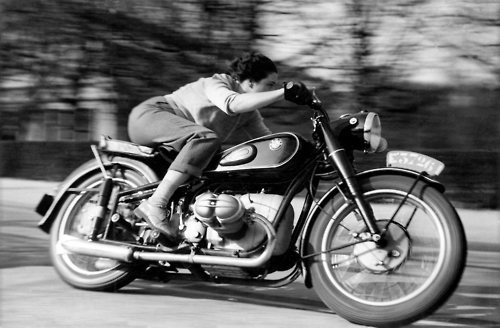 indypendenthistory:  Marianne Weber, belgian journalist riding a BMW R 68, April 1952. In: Motorcycle, 15 August, 1952. Photo: Everts R. G. / BMW Group Archiv. Fotograf: Everts R.G. / BMW Group Archiv.