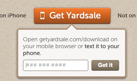 Yardsale lets you text the download link to your phone