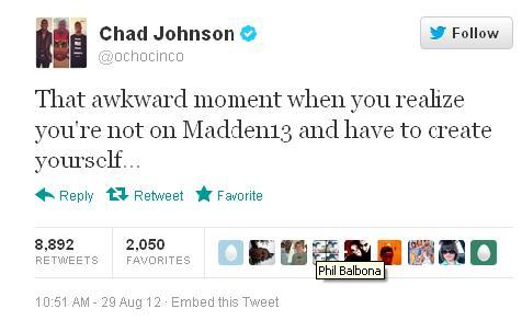 Chad Johnson has to create himself on Madden13. I wonder what his headbutting skill level is…