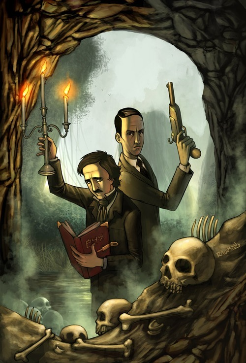 sketchlock:       Lovecraft and Poe.  If this were a comic I'd read the fuck out of it.  I need it  #I feel like Poe would be really sad all the time #and Lovecraft would be all DUDEBRO GOT NO TIME FOR DEPRESSION PH'NGLUI MGLW'NAFH CTHULU R'LYEH WGAH'NAGL FHTAGN #and Poe's all WHAT DOES THAT EVEN MEAN #and then monsters  reblog for the tags. because HELLS TO THE YES  #WHAT DOES THAT EVEN MEAN# And then monsters What is this perfection.  poe and lovecraft meet twain and tesla and all is right with the world