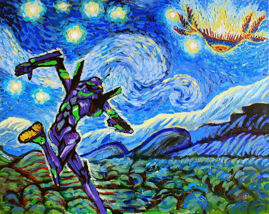 diabloodevil-:  VanGogh-starry night evangelion version