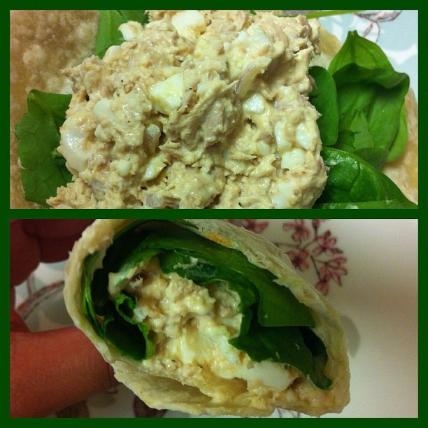 #nofilter Mommy's #lunch 👍 #cleaneating#eatclean#healthy#protien#tunasalad#spinach#wrap (Taken with Instagram)