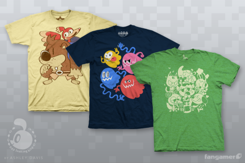 oddlookingbird:  Here's what those shirt designs I posted yesterday actually look like in shirt form! Again, they will be available at Fangamer's booth at PAX this weekend, and online sometime next month!  Dying. These are INSANELY CUTE *-*