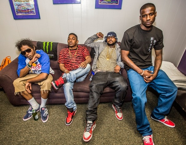 Kendrick Lamar and Black Hippy hang out backstage before performing at the 2012 Rock the Bells Music Festival at Shoreline Amphitheatre in Mountain View, California on August 25th, 2012. I LOVE HIP-HOP! xo @RozOonTheGo