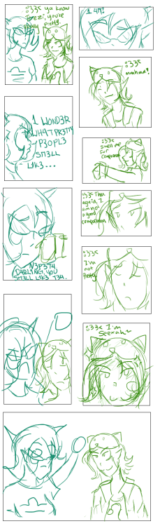 [Transcript: :33 ya know Terezi, you're very pretty 1 WONDER WH4Y PR3TTY P3OPL3 SM3LL L1K3 :33 smell me for comparison N3P3T4 D4RL1NG YOU SM3LL L1K3 T34 :33 then again i'm not a good comparison :33 i'm not pretty :33 i'm seexah~