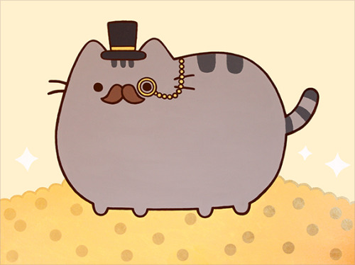 "pusheen:  This extremely fancy Pusheen painting (40"" x 30"" acrylic on canvas) will be featured in the up coming C$C$ art show! 100% of the proceeds from this painting will be donated to the Brooklyn Animal Resource Coalition (BARC) Click here for details and to RSVP!"
