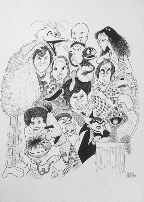 vintagesesame:  The cast of Sesame Street caricatured by Al Hirschfeld.