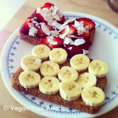 """Brunch"" today was a toasted strawberry banana coconut peanut butter sandwich. So good.  (Taken with Instagram)"