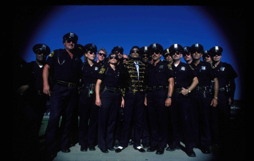 Michael Jackson with the Pontiac Police Department.  1984 Happy Birthday to the King of Pop, who would have been 54 today.  The photo was taken during the Jacksons' Victory Tour, where the Jacksons played three nights in a row at the Pontiac Silverdome.