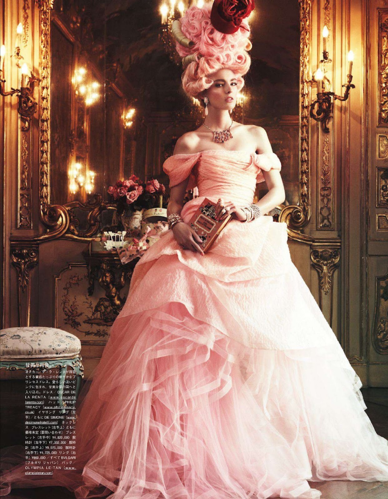 "paperomance:  Ymre Stiekem | Vogue Japan, October 2012. Opulence and total sophistication surrounds Dutch model Ymre Stiekem in ""All The Riches A Girl Can Have"", an editorial for the October 2012 issue of Vogue Japan, photographed by Giampaolo Sgura. Anna Dello Russo styles the model and selects statement pieces from the likes of Oscar de la Renta, Alberta Ferretti, Moschino and Balmain amongst others. These looks are complete with baroque hair of all colours and jewels fit for a Queen.  Photo: © Vogue Japan"