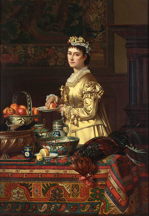 An Interior with an Elegant Lady Standing by a Kitchen Still Life Jean-Daniel Stevens Late 19th-early 20th century