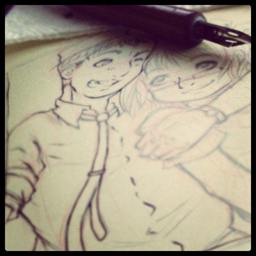 Kids from my comic. #doodle #sketch #ink #nib #moleskine  (Taken with Instagram)