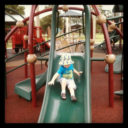 #fmsphotoaday #photoadayaug going #down the slide!  Not going to let a  hurricane ruin our morning! (Taken with Instagram at Winner's Circle Park)