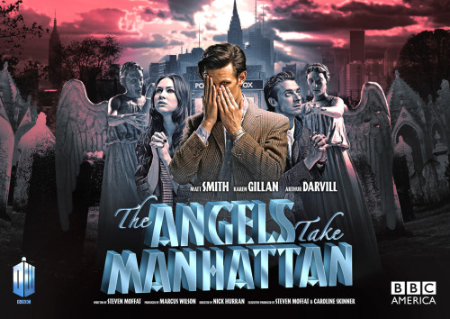 "sarah531:  doctorwho:  The ""movie poster"" for Doctor Who Episode 5: The Angels Take Manhattan Click the Series 7 link to see posters for the entire first half of Series 7!  This unnerves me so much, because Amy and Rory are in the same poses we associate with angels… He wouldn't. Would he?"