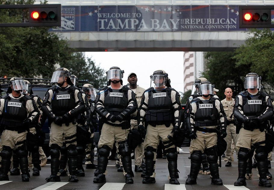 The police state at the GOP convention. Go here for more pics.