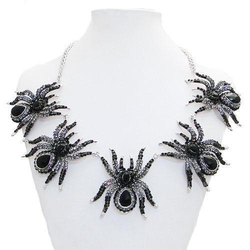 antiquesquirrel:  clarissemarie:  Black Widow Swarovski Crystal Silver Necklace  I really love this.
