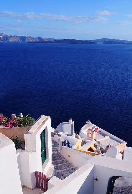 Down to the Sea, Santorini, Greece photo via give