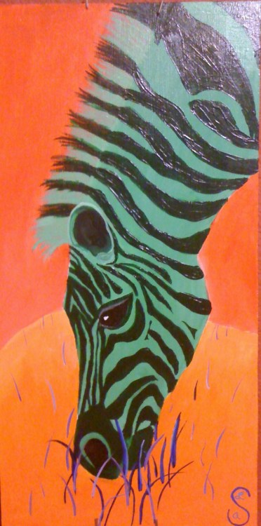 skyrimswordchick:  Green Zebra: Animal series #2 Acrylic on wood board The second in my bold animal series. I'm not really an animal-painter so I've been dragging my feet on completing the series.