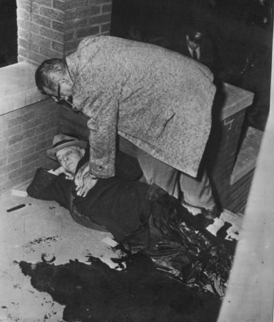 Roger Touhy, a Capone rival, moments after a mob hit at 125 N. Lotus. The murder occurred just weeks after Touhy finished serving 26 years in prison. He had been framed by Capone for the kidnapping of Max Factor's brother. http://en.wikipedia.org/wiki/Roger_Touhy