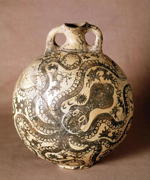 art-library:  Octopus jar, from Palaikastro (Crete), Greece, ca. 1500 BCE. The sea figures prominently in Minoan art. This painter perfectly matched the octopus motif to the shape of the vase. The sea creature's tentacles reach out to fill the curving surfaces of the vessel.