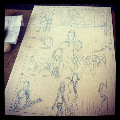 Penciling some comic pages. #makecomics #createcomics #comics #coffee  (Taken with Instagram at Portfolio Coffee House)