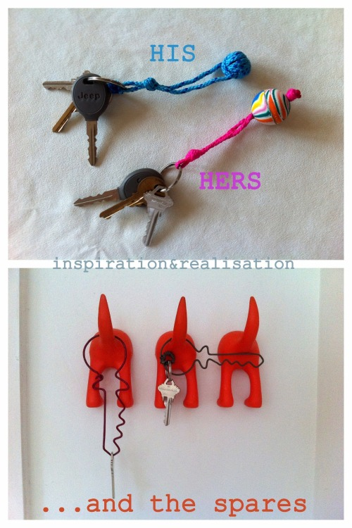 "DIY Three Keychains' Tutorials from inspiration & realisation here. Make keychains using nylon cord, superballs and a wire hanger. I especially like the ""ghost"" wire keychains."