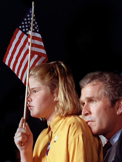 Watching Poppy at the GOP Convention in Houston, 1992. photo by David Woo, DMN.