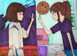 My newest Copic drawing.  Inspired by Spirited Away.  This takes place after the movie.  What is happening in this picture?  Add a caption or a description saying what is happening :) Hope you like it! ^^