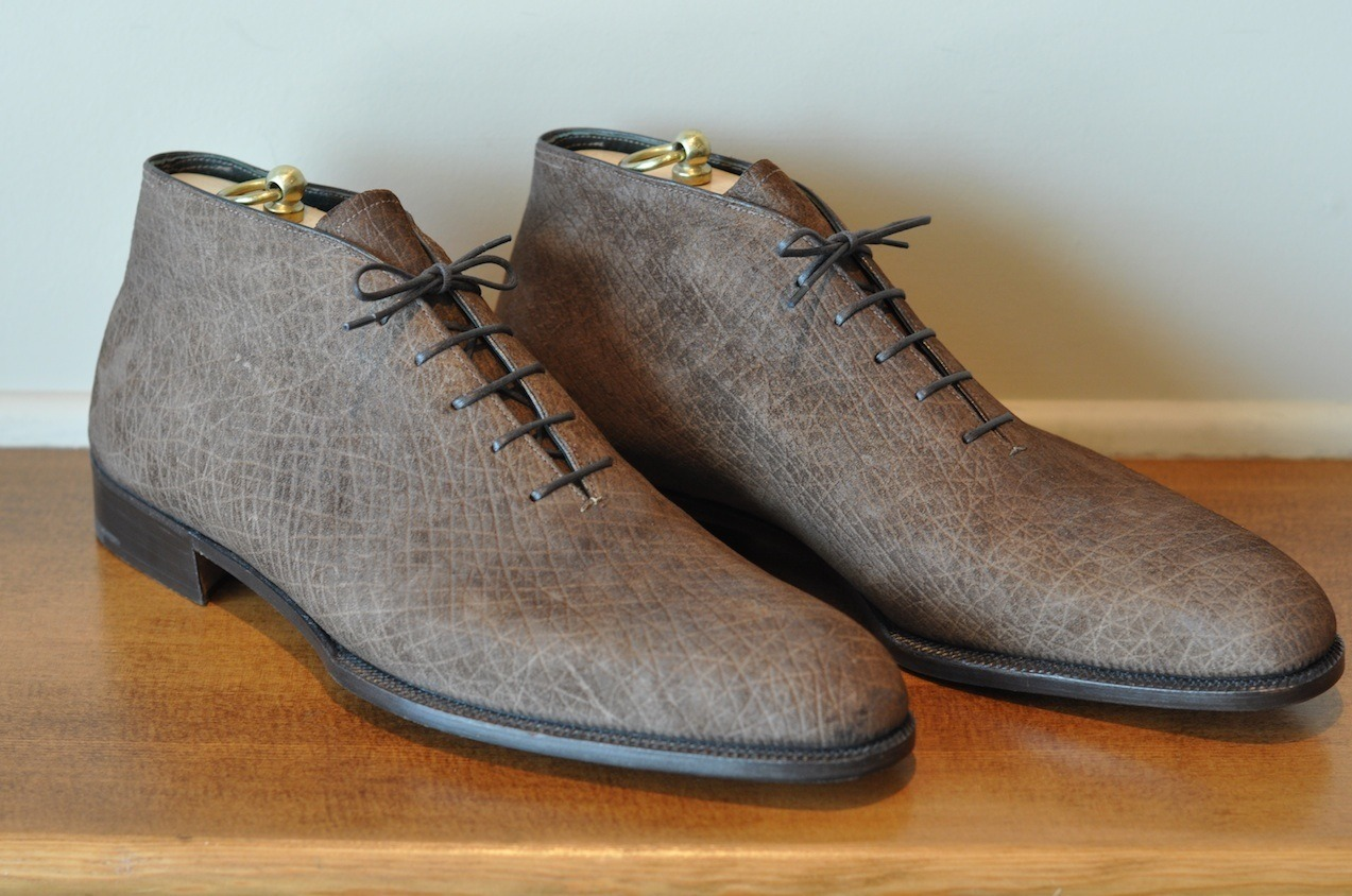 The bespoke Hippopotamus skin chukka boot by George Cleverley.