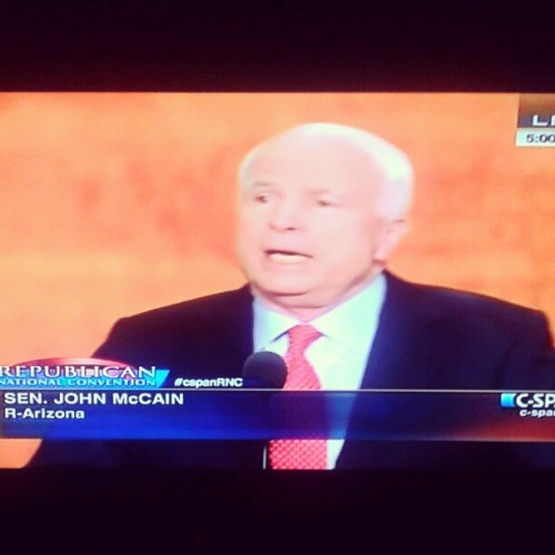 2008 loser to Obama John McCain speaking. #rnc2012 #gop2012 #JohnMcCain #ig (Taken with Instagram)