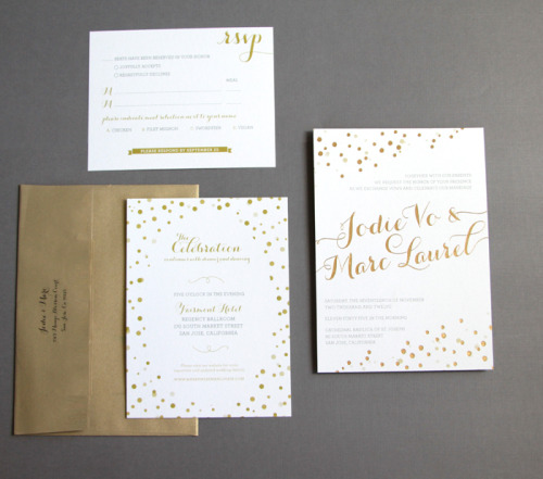 Gorgeous foiled wedding invites by JolieJolie Design!