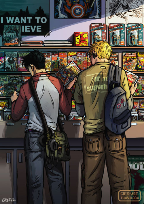 "cris-art:  ""Fanboys"", another fanart of Teddy and Billy, a favorite visit to the comic book store one afternoon. I love to draw everyday kind of scenes. ♥ I can imagine their conversation to be something like: - Teddy, do I have this one? - Mmm…I'm not sure. You have a lot.  hehehe, I hope you like it! ♥♥   Thanks to the blog ""Giant-size marvel"" for the old Marvel covers"