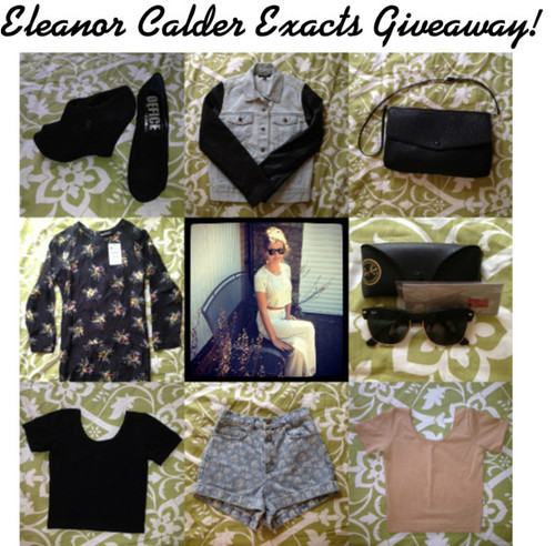 inspiredby1dstyle:  GIVEAWAY TIME! 8 EXACT ITEMS PREVIOUSLY SEEN ON ELEANOR :) To Win: Must be following me! ( http://inspiredby1dstyle.tumblr.com/ ) I will check ;) Reblog as many times as you'd like! The more you reblog, the better your chances of winning!! (Likes don't count!) Winner will be chosen by random generator! I will ship worldwide! Winner chosen on October 15th! Items: Office Wedges (Size 8 UK) Urban Outfitters byCORPUS Denim/Leather Jacket (Size S) Zara Messenger Bag Zara Hipster Dress (Size M) Ray-Ban Oversized Clubmaster Sunglasses American Apparel Fitted Crop Top in Black (Size S) American Apparel Printed High-Waist Jean Cuff Shorts (Size 27) American Apparel Fitted Crop Top in Nude (Size S) Good luck loves! :) Xx