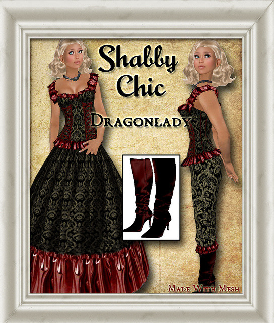 Shabby Chic Dragonlady on Flickr. Shabby Chic custom outfit for the Twisted Hunt Fall 2012.  Cute corset with lace edging and straps as well as matching bloomers with lace accents. Cute choker and high heel boots come with this snazzy outfit.Follow Shabby Chic on FacebookFollow it on FlickrFollow it on the Chicaholic BlogVisit the Christmas Market in GemellaVisit the Main Store in GemellaVisit the Texture store in Brauni Photo by Jordanna Hamaski