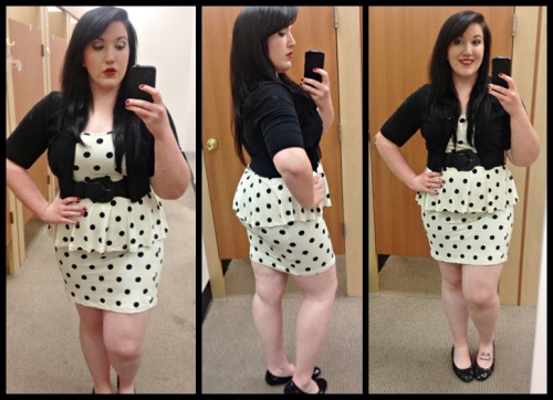 You know the drill: Awkward dressing room photos at work. One hand on hip. One claw holding my phone. Big black belt. The usual. Dress: ASOS Belt: Target Shrug: Fashion Bug Ballet Flats: Kohl's