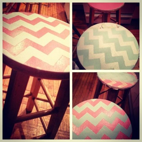 My latest DIY project: Baby blue/pink chevron stools. They look good! All it took was some spray paint, masking tape, and sand paper.