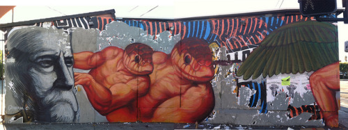 Quetzalcoal and Xolotl by gaia.streetart on Flickr.Nice weird Roa at LA Freewalls