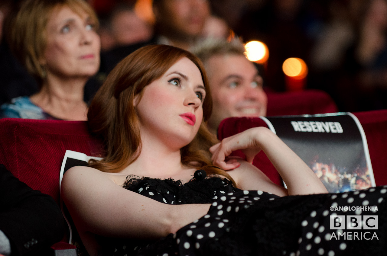 "honeyandlavender:  doctorwho:  Karen watching Asylum of the Daleks At last Saturday's WHOyorkcity screening premiere of Doctor Who Series 7. Watch a recap video here.  oh dear, whenever i see a photo from the nyc screening i just think ""dfjshdg I WAS THERE"" how did that even happen?!"