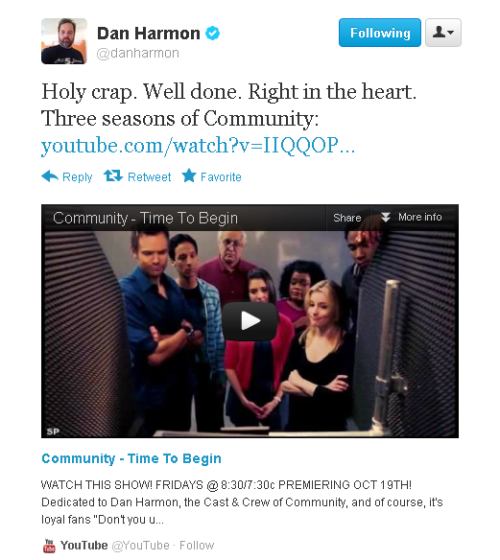 that's my video he linked…. Dan Harmon tweeted my video!  #TOOMANYFEELINGS #WHATDOIDO? #ISTHISADREAM? #IAMDREAMING #OVERWHELMED #MYEMOTIONS