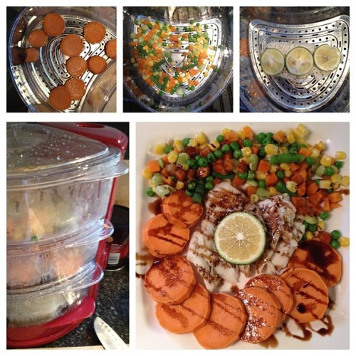 Dinner in less than 8 minutes using my rapid #steamer. Alaskan cod, yam, and succotash drizzled wit balsamic vinegar glaze. #healthy #fitness #rapidsteamer #quickandeasy (Taken with Instagram)