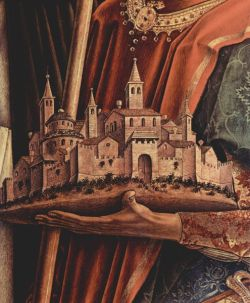 artdetails:   Carlo Crivelli,  Altar Triptych, right panel: St. Peter Martyr and St. Venetianus of Camerino (detail)
