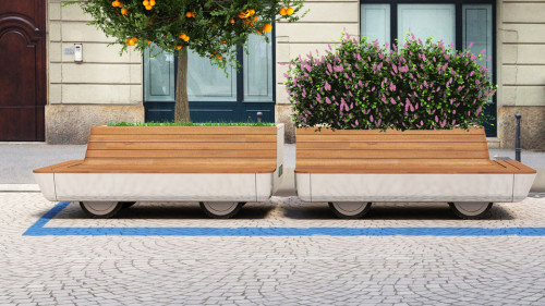 "studio630:  A Designer Imagines Miniature, Wi-Fi-Enabled Parks On Wheels Milan native and designer Matteo Cibic imagines giving citizens the option to pay a small sum to have a portable green ""trolley"" parked near their homes. The trolleys are rolling, miniature parks that would provide other services—like charging stations, benches, and Wi-Fi—to renters. It's an unusual take on the post-car city, since it enables citizens to make micro-investments in green space, with immediate, visible benefits."